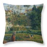 Kitchen Garden At The Hermitage, Pontoise, 1879 Throw Pillow