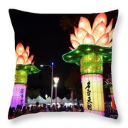 Large Lanterns In The Shape Of Lotus Flowers Throw Pillow