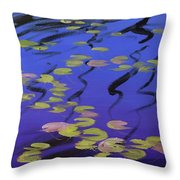 Lilies On Blue Water Throw Pillow