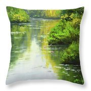lily Pond reflections Throw Pillow