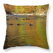 Little River In Autumn In Smoky Mountains National Park Throw Pillow