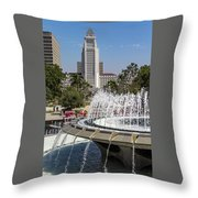 Los Angeles City Hall And Arthur J. Will Memorial Fountain Throw Pillow