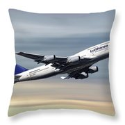 Lufthansa Boeing 747-430 Throw Pillow