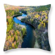 Manistee River From Above In Spring Throw Pillow