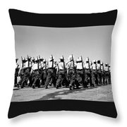 March At Airport Throw Pillow