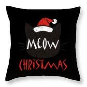 Meow Christmas Distressed Throw Pillow