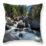 Merced River And Vernal Fall, Yosemite National Park Throw Pillow