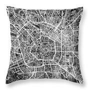 Milan Italy City Map Throw Pillow