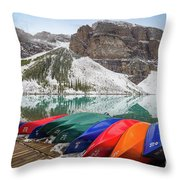 Moraine Lake Canoes Throw Pillow