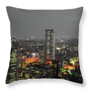 Mostly Black And White Tokyo Skyline At Night With Vibrant Selective Colors Throw Pillow