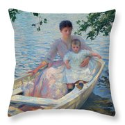 Mother And Child In A Boat Throw Pillow