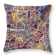 Munich Germany City Map Throw Pillow
