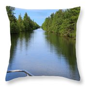 Narrow Cut On The Trent Severn Waterway Throw Pillow