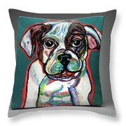 Neon Bulldog Throw Pillow