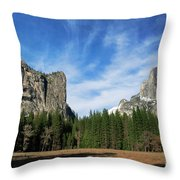 North Dome And Half Dome, Yosemite National Park Throw Pillow