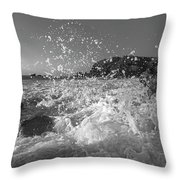 Ocean Wave Splash In Black And White Throw Pillow