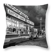On The Midway - Temptations Of The Night 4 Bw Throw Pillow