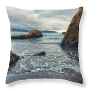 Oregon Coast Throw Pillow by Nicole Young