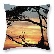 Oregon Coast Sunset Throw Pillow