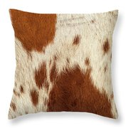 Pattern Of A Longhorn Bull Cowhide. Throw Pillow by Rob D Imagery