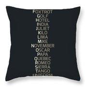 Phonetic Alphabet Throw Pillow