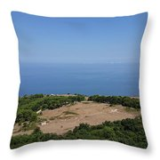 Photography View Over The Mountain Village Erice In Sicily Throw Pillow