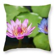 Pink Lotus Water Flower Throw Pillow