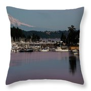 Pink Purple Glow Over Mount Rainier And Gig Harbor Marina After Sunset Throw Pillow