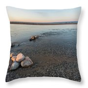 Platte River Mouth At Sunset Throw Pillow