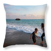 Playing Barefooted At Aphrodite's Birthplace Throw Pillow
