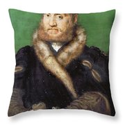 Portrait Of A Bearded Man With A Fur Coat  Throw Pillow