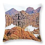 Prescott Arizona Watson Lake Rocks, Hills Water Sky Clouds 3122019 4868 Throw Pillow