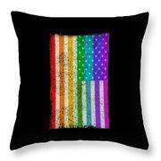 Rainbow Us Flag Throw Pillow