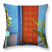 Red Door Adobe Throw Pillow