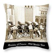 Rickshas And Drivers, 1904 Worlds Fair Throw Pillow
