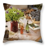 Rustic Wooden Table With Various Herbs And Flowers Throw Pillow