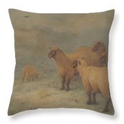 Sheep On Moorland Throw Pillow