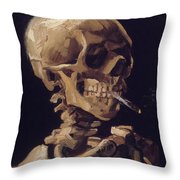Skull With Cigarette  Throw Pillow