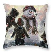 Snowman And Three Boys Throw Pillow