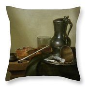 Still Life With Tobacco  Wine And A Pocket Watch  Throw Pillow