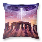 Stonehenge Ufo Throw Pillow