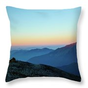 Sunrise Above Mountain In Valley Himalayas Mountains Mardi Himal Throw Pillow