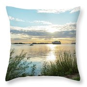 Sunset On The Elbe Throw Pillow