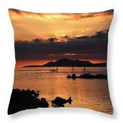 Sunset Over Maunalua Bay Throw Pillow by Charmian Vistaunet