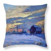 Sunset Over The Farm Throw Pillow