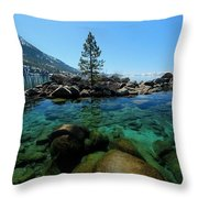 Tahoe Northern Island Throw Pillow by Sean Sarsfield