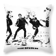 The Beatles Black And White Watercolor 01 Throw Pillow