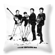The Beatles Black And White Watercolor 02 Throw Pillow
