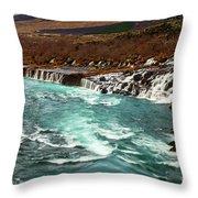 The Beautiful Cascades Of Hraunfossar In Iceland. Throw Pillow