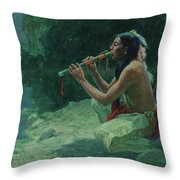 The Call Of The Flute Throw Pillow